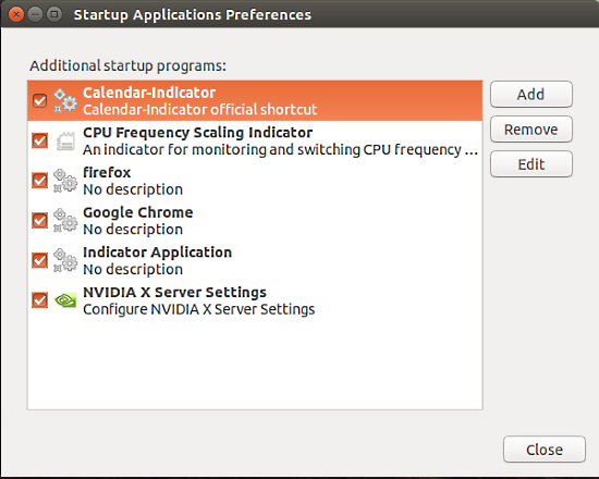 Startup applications preferences